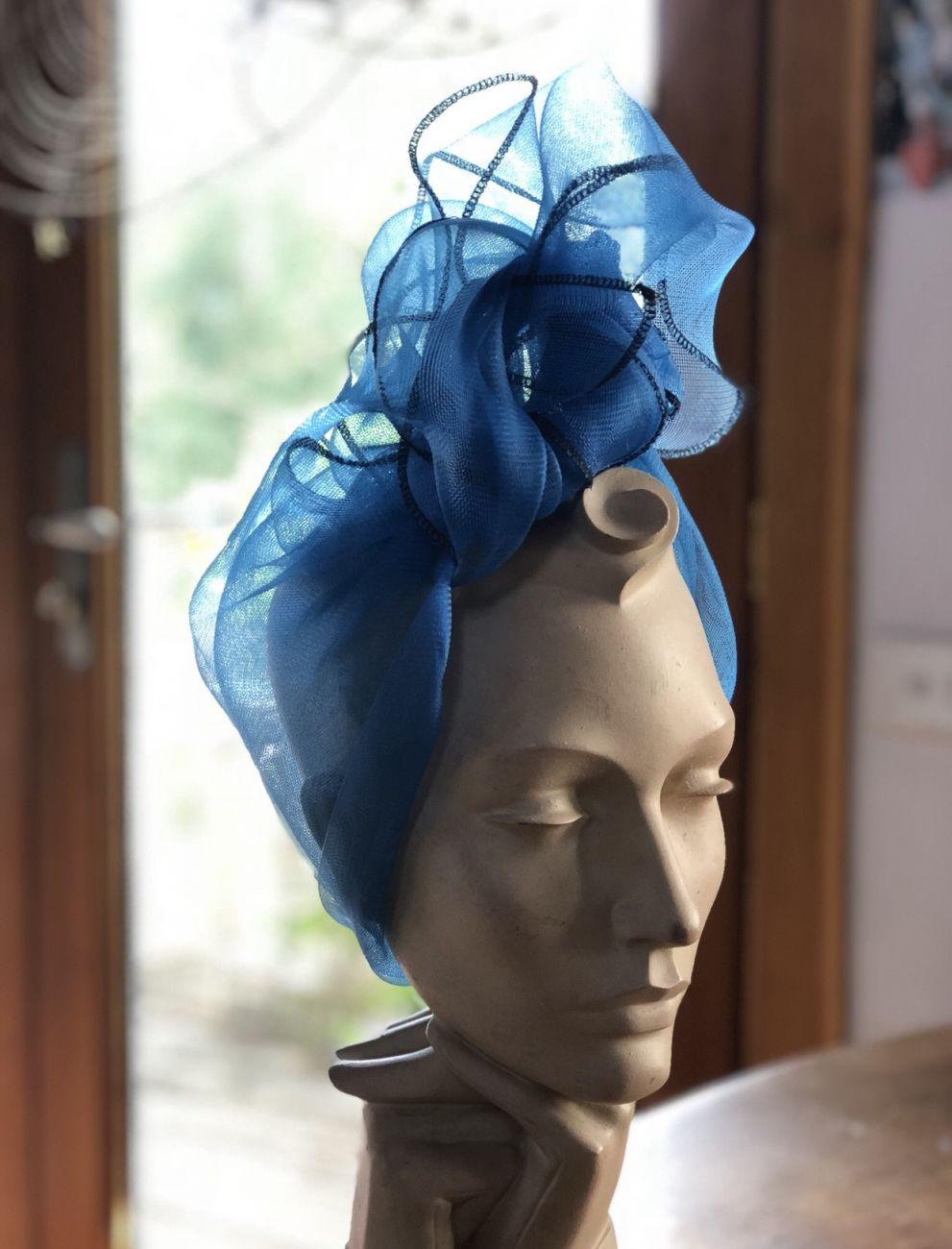 Blue crinoline turban by Waltraud Reiner