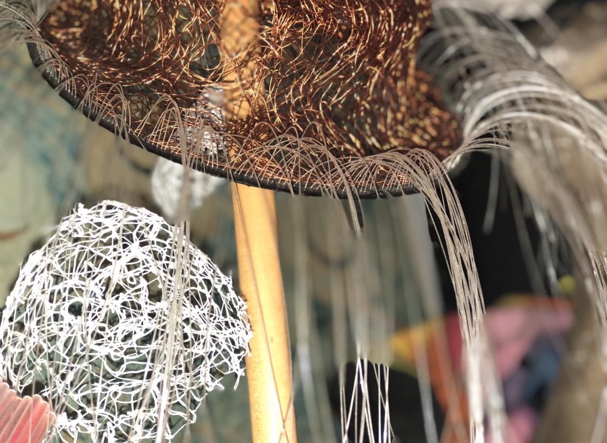 Textile art hat by Waltraud Reiner