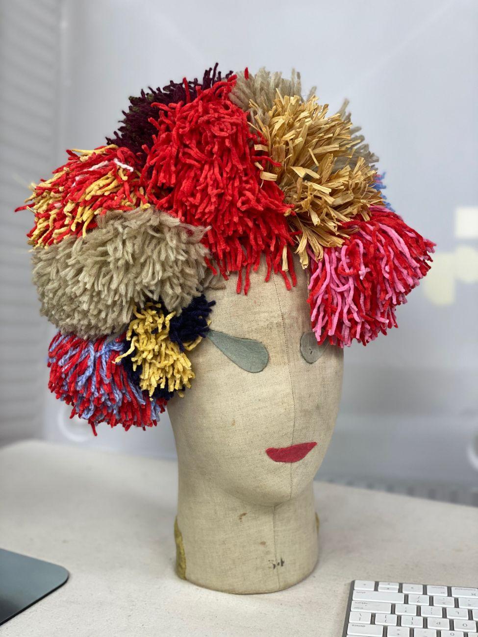 Pompom headpiece by Waltraud Reiner