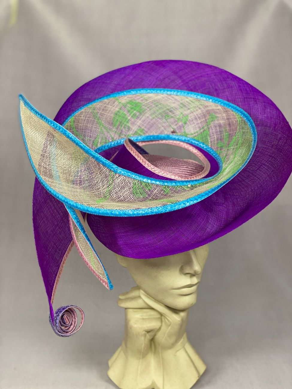 Bias Sinamay hat by Waltraud Reiner