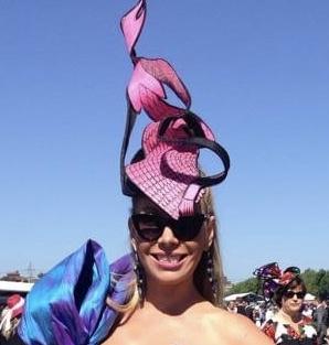 Pink headpiece by Waltraud Reiner