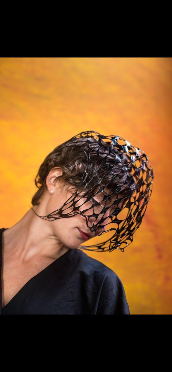Thermoplastic black headpiece by Waltraud Reiner