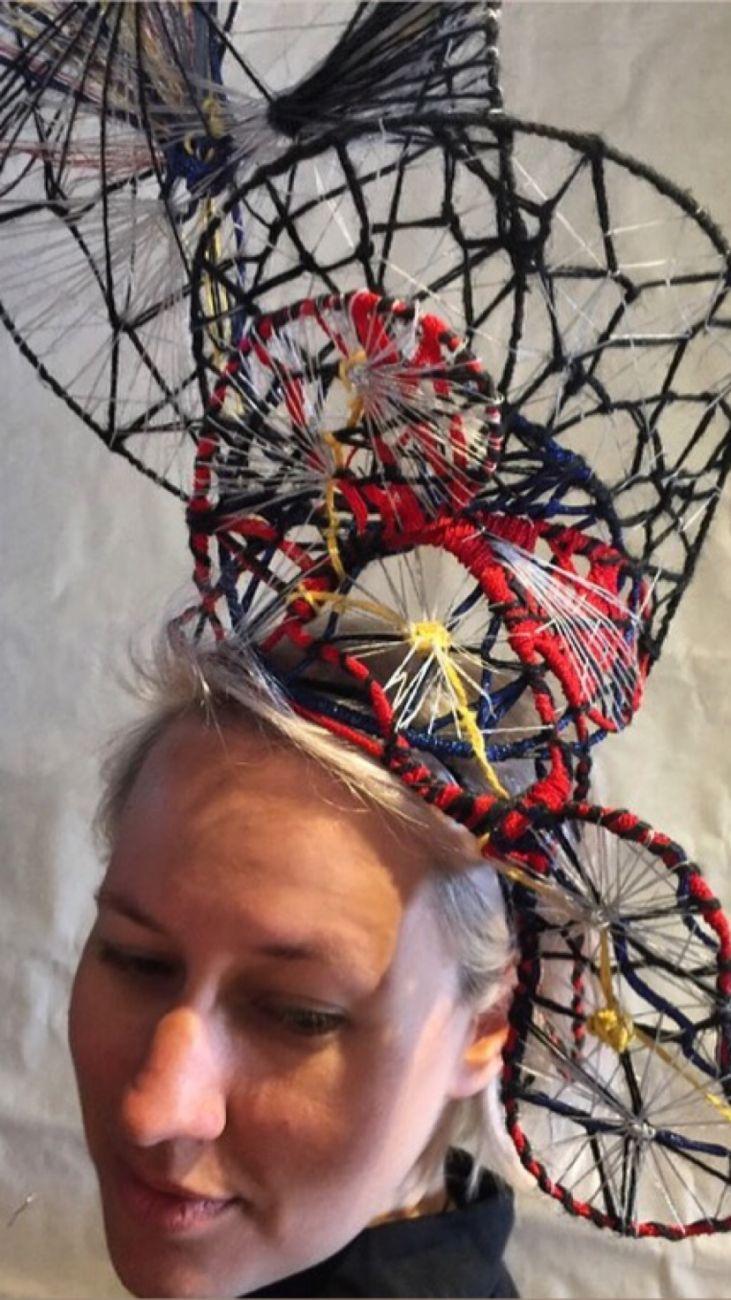 Mixed textil headpiece by Waltraud Reiner