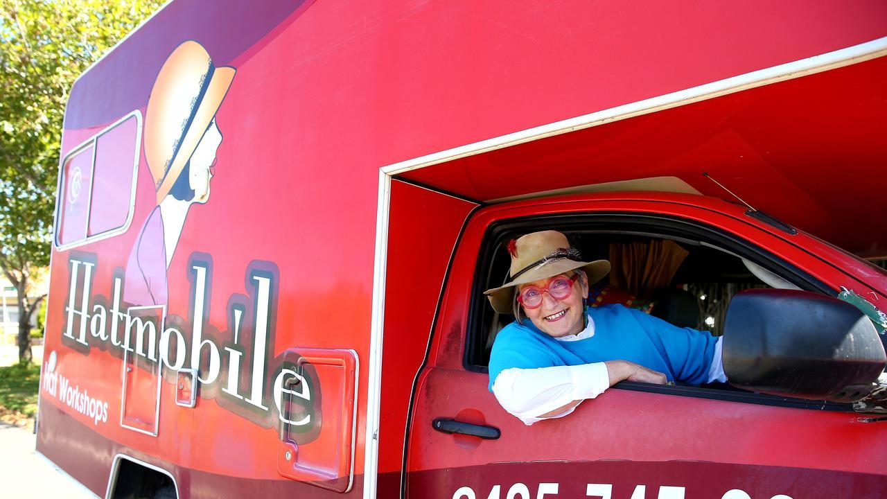 Waltraud Reiner in the Hatmobile