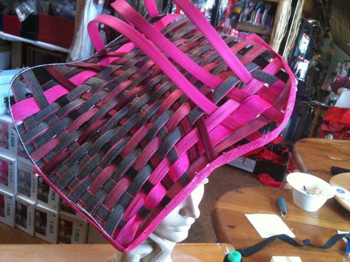 Woven pink jinsin hat by Waltraud Reiner