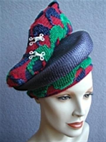 Blue and red shoe hat by Waltraud Reiner