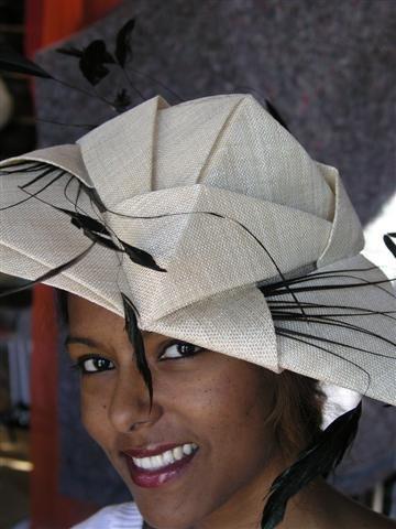 Cream Sinamay hat by Waltraud Reiner