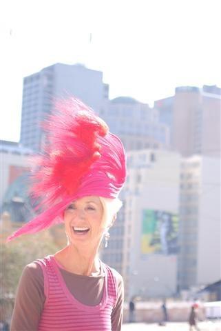 Pink jinsin hat by Waltraud Reiner