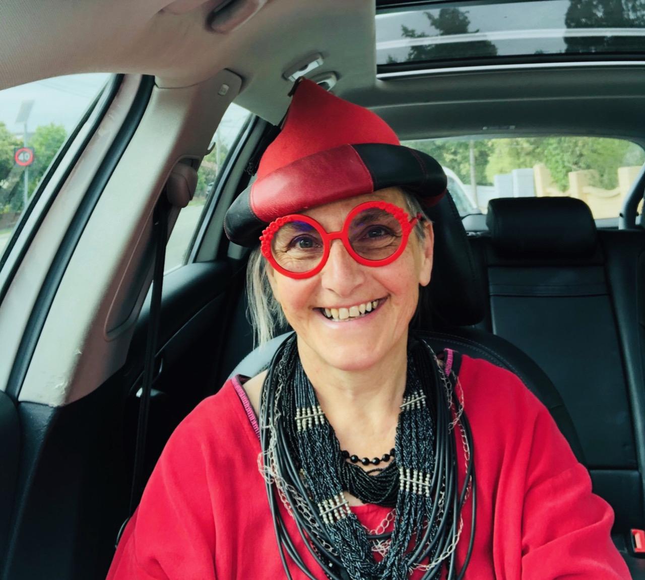 Waltraud Reiner in red hat